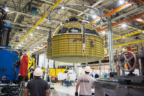 NASA's Orion spacecraft's pressure vessel was finished on January 13th, 2015. The pressure vessel will provide a sealed environment for astronaut life support in future human-rated crew modules. (NASA)