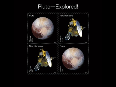 Pluto Explored! In 2006, NASA placed a 29-cent 1991 'Pluto: Not Yet Explored' stamp in the New Horizons spacecraft. In 2015 the spacecraft carried the stamp on its history-making mission to Pluto and beyond. With this stamp, the Postal Service recognizes the first reconnaissance of Pluto in 2015 by NASA's New Horizon mission. The souvenir sheet of four stamps contains two new stamps appearing twice. The first stamp shows an artists' rendering of the New Horizons spacecraft and the second shows the spacecraft's enhanced color image of Pluto taken near closest approach. (USPS/Antonio Alcalá © 2016 USPS)