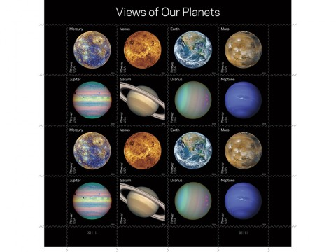 """With this pane of 16 Forever stamps, the Postal Service showcases some of the more visually compelling historic, full-disk images of the planets obtained during the last half-century of space exploration. Eight new colorful Forever stamps, each shown twice, feature Mercury, Venus, Earth, Mars, Jupiter, Saturn, Uranus and Neptune. Some show the planets' """"true color"""" — what one might see if traveling through space. Others use colors to represent and visualize certain features of a planet based in imaging data. Still others use the near-infrared spectrum to show things that cannot be seen by the human eye. (USPS/Antonio Alcalá © 2016 USPS)"""