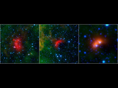 Bow shocks thought to mark the paths of massive, speeding stars are highlighted in these images from NASA's Spitzer Space Telescope and Wide-field Infrared Survey Explorer, or WISE. (NASA/JPL-Caltech/University of Wyoming)