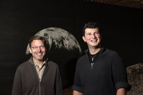 Caltech professor Mike Brown and assistant professor Konstanin Batygin have been working together to investigate distant objects in our solar system for more than a year and a half. The two bring very different perspectives to the work: Brown is an observer, used to looking at the sky to try and anchor everything in the reality of what can be seen; Batygin is a theorist who considers how things might work from a physics standpoint. (Lance Hayashida/Caltech)