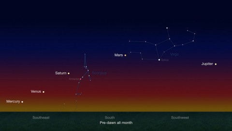 Early risers have an opportunity to see five naked-eye planets in pre-dawn skies during late January and continuing through late February. (NASA/JPL-Caltech)