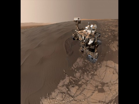 """This Jan. 19, 2016, self-portrait of NASA's Curiosity Mars rover shows the vehicle at """"Namib Dune,"""" where the rover's activities included scuffing into the dune with a wheel and scooping samples of sand for laboratory analysis. (NASA/JPL-Caltech/MSSS)"""