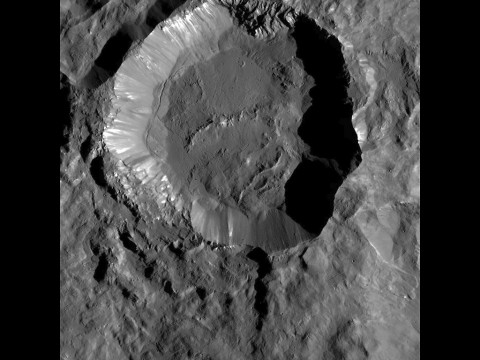 This image from NASA's Dawn spacecraft shows Kupalo Crater, one of the youngest craters on Ceres. (NASA/JPL-Caltech/UCLA/MPS/DLR/IDA)