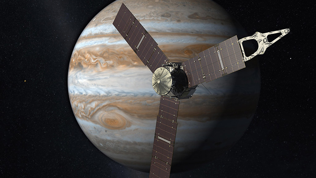 Launching from Earth in 2011, the Juno spacecraft will arrive at Jupiter in 2016 to study the giant planet from an elliptical, polar orbit. Juno will repeatedly dive between the planet and its intense belts of charged particle radiation, coming only 5,000 kilometers (about 3,000 miles) from the cloud tops at closest approach. (NASA/JPL-Caltech)