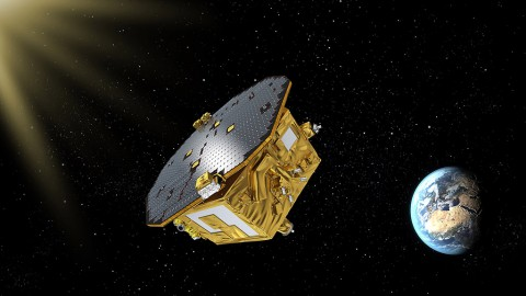 The LISA Pathfinder spacecraft will help pave the way for a mission to detect gravitational waves. NASA/JPL developed a thruster system onboard. (ESA)