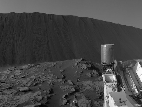 This view from NASA's Curiosity Mars Rover shows the downwind side of a dune about 13 feet high within the Bagnold Dunes field on Mars. (NASA/JPL-Caltech)