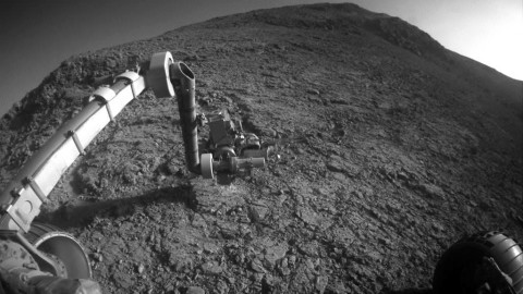 "The target beneath the tool turret at the end of the rover's robotic arm in this image from NASA's Mars Exploration Rover Opportunity is ""Private John Potts."" (NASA)"