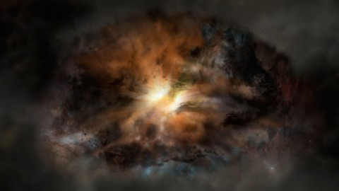 This artist's rendering shows a galaxy called W2246-0526, the most luminous galaxy known. New research suggests there is turbulent gas across its entirety, the first example of its kind. (NRAO/AUI/NSF; Dana Berry / SkyWorks; ALMA (ESO/NAOJ/NRAO))