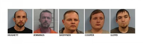 Denny Hughett, Samuel Jennings, Joe Shoffner Jr., Garren Cooper, and Michael Lloyd arrested by Tennessee Bureau of Investigation for mistreatment of inmates in the Morgan County Jail.