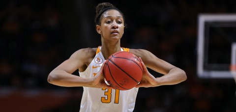 Tennessee's Jaime Nared posts her first double-double with 17 points and 10 rebounds in the win over Alabama Sunday afternoon. (UT Athletics Department)