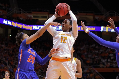 Tennessee Lady Volunteers forward Bashaara Graves (12) shoots the ball against Florida Gators guard Simone Westbrook (20) during the first quarter at Thompson-Boling Arena. Graves had career-high 19 rebounds in loss to Gators. (Randy Sartin-USA TODAY Sports)