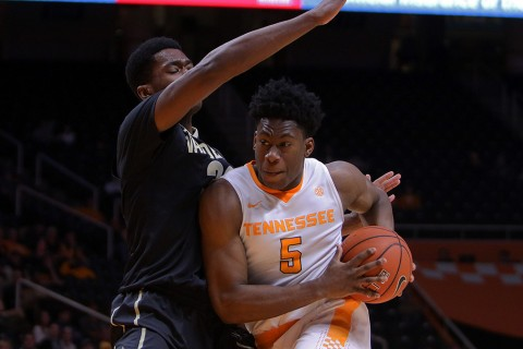 Tennessee Volunteers forward Admiral Schofield (5) moves the ball against Vanderbilt Commodores center Damian Jones (30) during the second half at Thompson-Boling Arena. Vanderbilt won 88 to 74. (Randy Sartin-USA TODAY Sports)