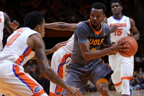 Tennessee Volunteers guard Kevin Punter (0) moves the ball against Florida Gators guard Kasey Hill (0) during the first half at Thompson- Boling Arena. (Randy Sartin-USA TODAY Sports)