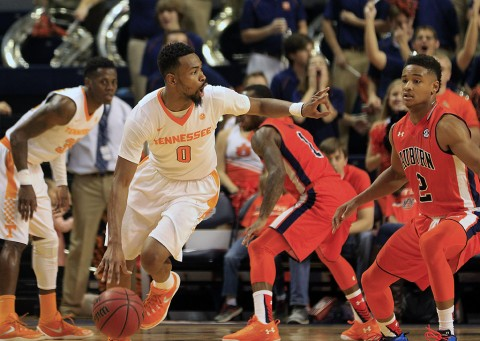 Tennessee Volunteers guard Kevin Punter (0) controls the ball against the Auburn Tigers at Auburn Arena. The Tigers defeated the Volunteers 83-77. (Marvin Gentry-USA TODAY Sports)