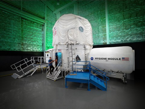 The Human Exploration Research Analog (HERA), formerly known as the Deep Space Habitat, was transferred from the JSC Engineering Directorate to HRP in FY2013. This unique modular three-story habitat was designed and created through a series of university competitions and was previously used in the Desert Research and Technology Studies in the Arizona desert. (Bill Stafford and Robert Markowitz/NASA)