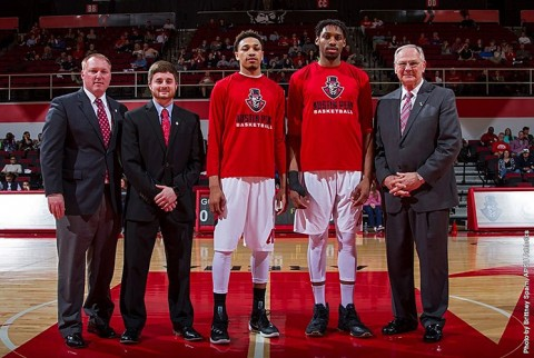 Austin Peay Senior Night. (L to R) Director of Athletics Ryan Ivey, manager Hayden McClain, Khalil Davis, Chris Horton, Men's Basketball coach Dave Loos. (APSU Sports Information)