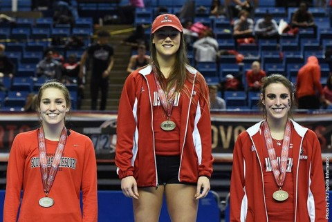 Austin Peay freshman Dascha Hix (center) wins gold and freshman Savannah Amato (right) takes home the bronze in the pole vault at the OVC Indoor Championships. (TSU Sports Information)