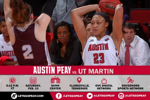 Austin Peay Women's Basketball take on UT Martin Skyhawks at the Dunn Center Saturday. (APSU Sports Information)