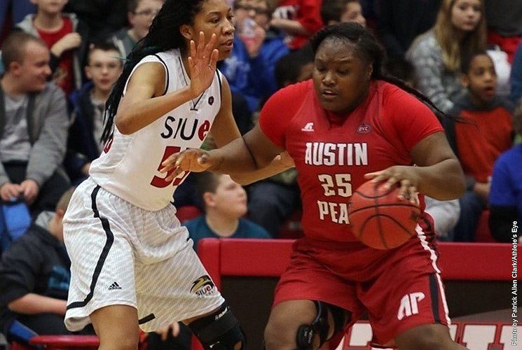 APSU Lady Govs Tearra Banks nets 21 in loss at SIU Edwardsville Cougars Wednesday. (APSU Sports Information)