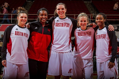 Austin Peay Senior Day, (L to R) Shelby Olszewski, Jennifer Nwokocha, Lauren Maki, Symantha Norton and Tiasha Gray. (APSU Sports Information)