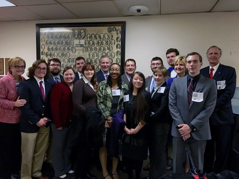 APSU attends Posters-at-the-Capitol Day. Back Row – Representative Joe Pitts and Senator Mark Green with APSU students. Not Pictured – Representative Curtis Johnson and Representative Jay Reedy.