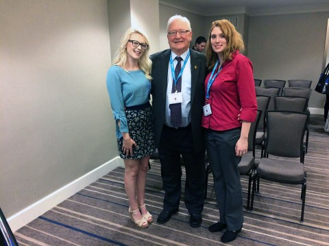 APSU students Sara Alexander and Jennifer Keller with Phi Alpha Theta Executive Director Jack Turnstall at the PAT national conference in Orlando, FL. (Austin Peay State University)