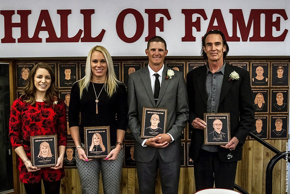(L to R) Carrie Burggraf, Stephanie Champine, Rowdy Hardy and Paul Aaron were inducted into the APSU Athletics Hall of Fame, Saturday morning. (APSU Sports Information)