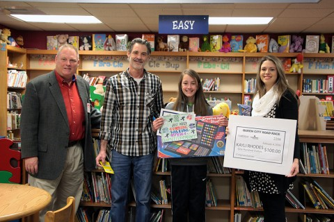 (L to R) Mark Tummons – Clarksville Parks + Recreation Director, Mike Andrews – Montgomery Central Art Teacher, Kayli Rhodes – First Place Winner, and Tirzah Tucker – Cumberland Bank and Trust