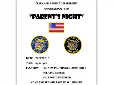 Clarksville Police Department's Explorer Program to hold Open House February 22nd