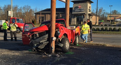 Clarksville Police Officers respond to crash on Madison Street Monday morning. (CPD)