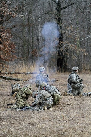 A mortar team from Company C, 1st Battalion, 327th Infantry Regiment, 1st Brigade Combat Team, 101st Airborne Division (Air Assault) fires an M224 60 mm lightweight mortar round during the live fire exercise Feb. 17, 2016, at Range 55, Fort Campbell, KY. The Soldiers were providing fire support while a portion of the company attacked an objective. (Sgt. Samantha Stoffregen, 1st Brigade Combat Team, 101st Airborne Division (Air Assault) Public Affairs)