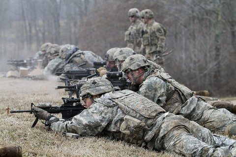 "Soldiers with Company C, 1st Battalion, 327th Infantry Regiment, 1st Brigade Combat Team, 101st Airborne Division (Air Assault) provide suppressive fire during the live fire exercise Feb. 17, 2016, at Range 55, Fort Campbell, KY. The ""Bulldogs"" battalion completed Eagle Flight III, which ensured all rifle companies were proficient on their weapons systems and encompassed various assets from outside the battalion. (U.S. Army photo by Sgt. Samantha Stoffregen, 1st Brigade Combat Team, 101st Airborne Division (Air Assault) Public Affairs)"