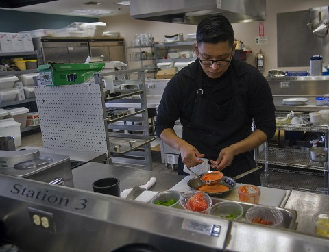 Spc. Freddy Recinos, a culinary specialist, assigned to 526th Brigade Support Battalion, 2nd Brigade Combat Team, 101st Airborne Division (Air Assault), prepares a meal at the culinary lab at the education center on Fort Campbell, Ky., Feb. 19, 2016. Recinos is part of the Fort Campbell Culinary Team which will compete in the Military Culinary Arts Competitive Training at Fort Lee, Va., in March, 2016. (Staff Sgt. Terrance D. Rhodes, 2nd Brigade Combat Team, 101st Airborne Division (Air Assault) Public Affairs)