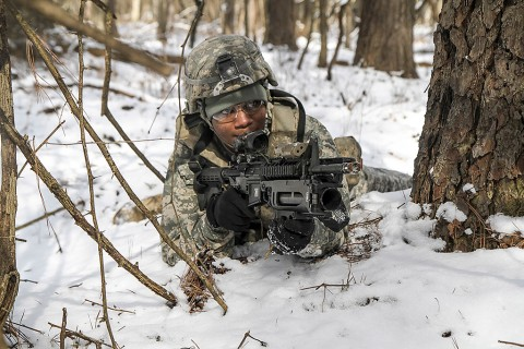 Pfc. Danny Morgan, a M249 light machine gun operator for 2nd platoon, Able Company, 1st Battalion, 506th Infantry Regiment, 1st Brigade Combat Team, 101st Airborne Division (Air Assault), returns fire acting as team leader during a training exercise February 10, 2016.  (Sgt. Samantha Stoffregen, 1st Brigade Combat Team, 101st Airborne Division (Air Assault) Public Affairs)