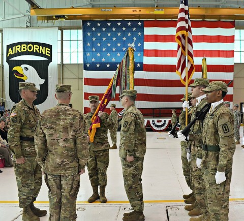Col. Mark Faria accepted command of the 52d Explosive Ordnance Disposal Group from Col. Marty L. Muchow during a Change of Command ceremony at Fort Campbell, Ky., Feb. 18. The 52nd will be deploying in the next few weeks, and Faria's main focus is on the success of this mission. (Courtesy Photo)