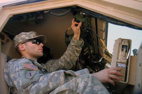 Spc. Johnny Marmolejo, a wheeled vehicle mechanic with Company J, 1st Battalion, 26th Infantry Regiment, 2nd Brigade Combat Team, 101st Airborne Division, works on a vehicle at the Joint Readiness Training Center in Fort Polk, La., Feb. 16, 2016. Support elements play a crucial role in the success of any mission. (Staff Sgt. Sierra A. Fown, 2nd Brigade Combat Team, 101st Airborne Division (Air Assault) public affairs)