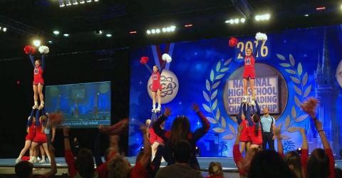 Montgomery Central High School cheerleaders competing in the 2016 National High School Cheerleading Competition.