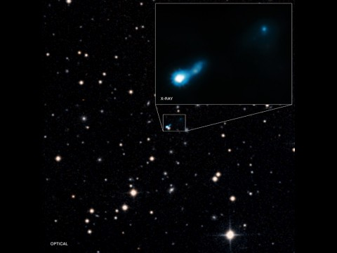 Extended X-ray jet associated with quasar B3 0727+409. (X-ray: NASA/CXC/ISAS/A. Simionescu et al, Optical: DSS)