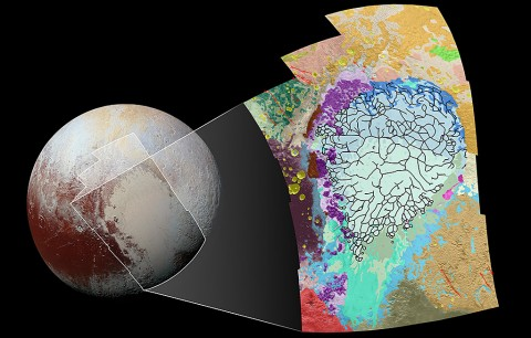 This map of the left side of Pluto's heart-shaped feature uses colors to represent Pluto's varied terrains, which helps scientists understand the complex geological processes at work. (NASA/JHUAPL/SwRI)