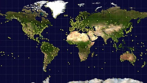 "Sites around the world (yellow dots) contributed data and serve as ""landmarks along a trail"" for the newest update to a global standard called the International Terrestrial Reference Frame. Each site conducts precision measurements using at least one and up to four geodetic techniques. (NASA/Earth Observatory/GSFC)"