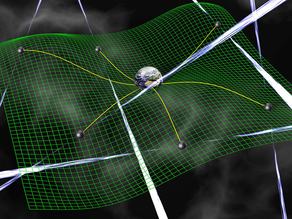 Gravitational waves are ripples in space-time, represented by the green grid, produced by accelerating bodies such as interacting supermassive black holes. These waves affect the time it takes for radio signals from pulsars to arrive at Earth. (David Champion)