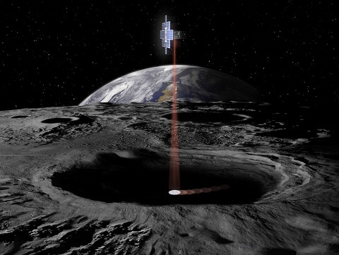 The Lunar Flashlight, flying as secondary payload on the first flight of NASA's Space Launch System, will examine the moon's surface for ice deposits and identify locations where resources may be extracted. (NASA)