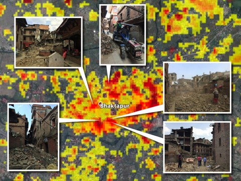 This image shows street-level photos in the Bhaktapur area of Nepal overlaid on a damage proxy map derived from data from COSMO-SkyMed satellites. The color gradation -- yellow to orange to red -- represents increasingly more significant change on the ground. (NASA/JPL-Caltech/Google/DigitalGlobe/CNES/Astrium/Amy MacDonald/Thornton Tomasetti)