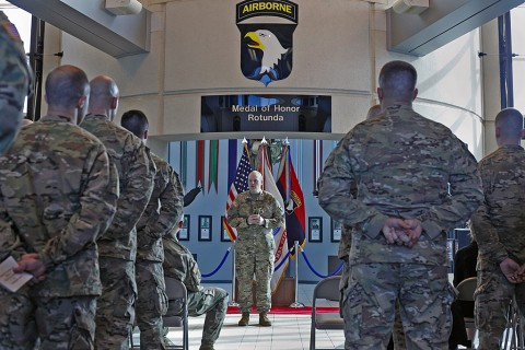 Lt. Col. Cory Mulhern, a liaison officer for the 101st Airborne Division (Air Assault), talks about what a unique opportunity it is for him to not only serve with the 101st as a Wisconsin National guardsman, but to be promoted by the division after his promotion ceremony held in the division headquarters, Fort Campbell, Ky., Feb. 11, 2016. (Sgt. 1st Class Nathan Hoskins 101st Airborne Division Public Affairs)