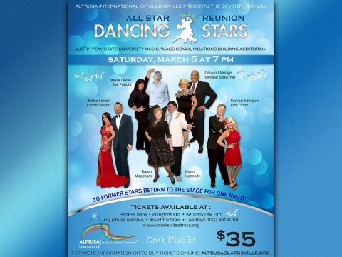Dancing with the Stars to be held at 7:00pm on Saturday March 5th, 2016 at the APSU Music/Mass Communications Building.