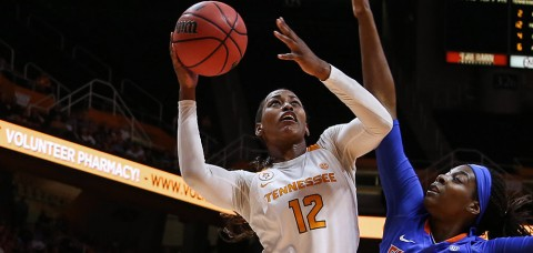 Tennessee Lady Vol's Bashaara Graves scores 15 points in UT's first loss to Crimson Tide since 1984. (Donald Page/Tennessee Athletics)
