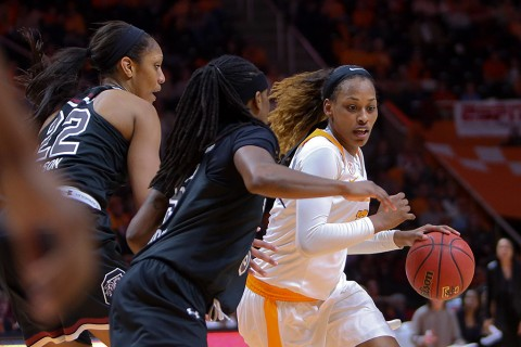 Tennessee Lady Volunteers forward Bashaara Graves (12) moves the ball against the South Carolina Gamecocks during the third quarter at Thompson-Boling Arena. Graves of Clarksville, TN had a double-double, 13 points and 10 rebounds, in the loss (Randy Sartin-USA TODAY Sports)