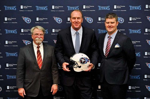 Tennessee Titans president Steve Underwood (left) during a press conference with new head coach Mike Mularkey (center) and new general manager Jon Robinson (right) at Saint Thomas Sports Park. (Jim Brown-USA TODAY Sports)