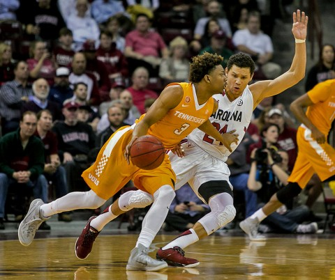 Tennessee Volunteers guard Robert Hubbs III (3) attempts to get around South Carolina Gamecocks forward Michael Carrera (24) in the first half at Colonial Life Arena. (Jeff Blake- USA TODAY Sports)